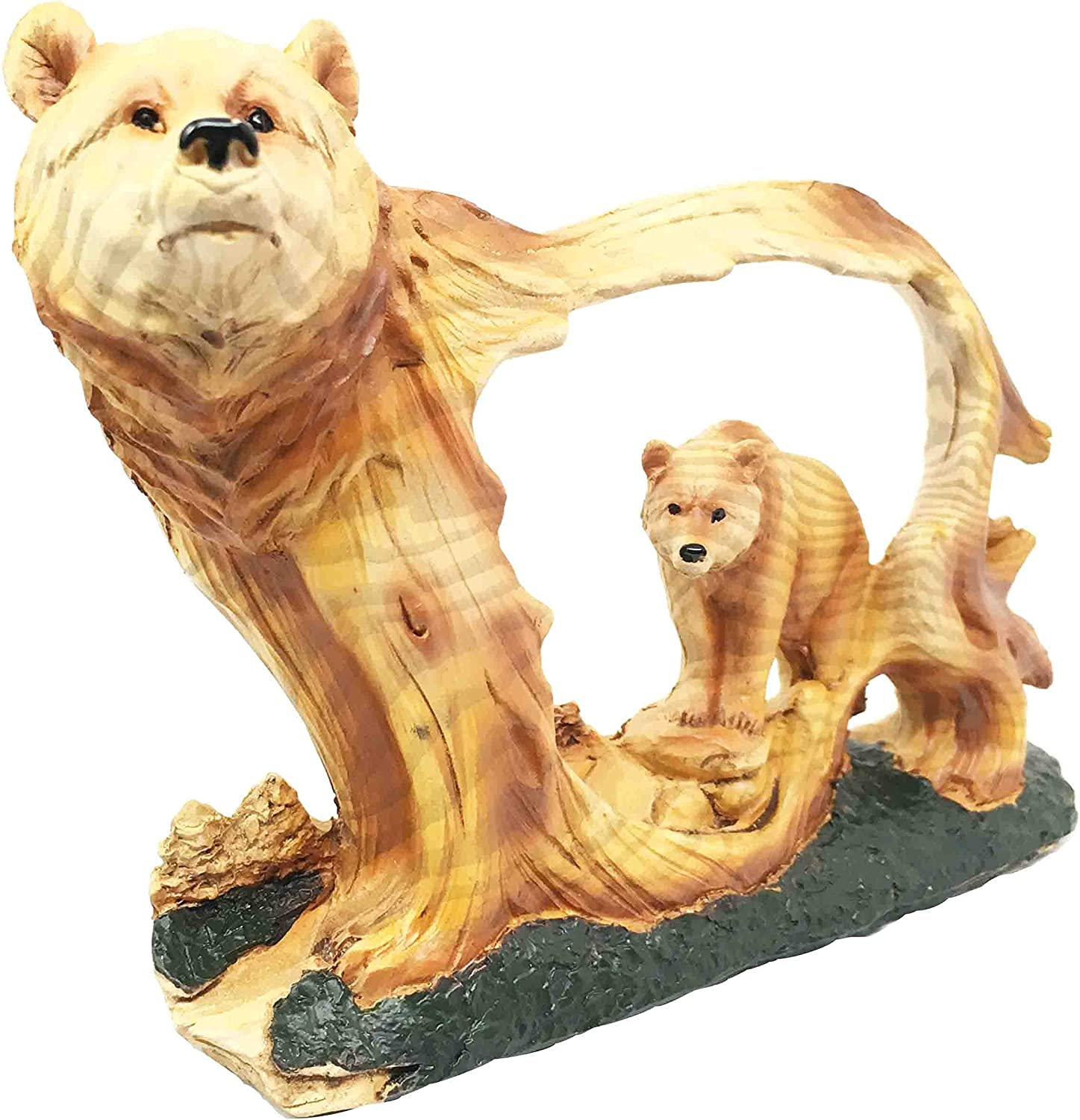 Ebros Nature Rustic Faux Wood Wildlife Grizzly Bear With Cub Roaming The Forests Figurine Wildlife Animal Decor Statue For Fans Of Bears Hunters Outdoors Cabin Western Themed Decors