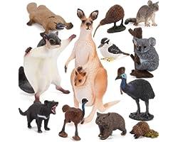 12 PCS Australia Wild Life Animal Figures Model Mouse Bear Koala Platypus Figurines Party Favors Supplies Decoration Cake Top