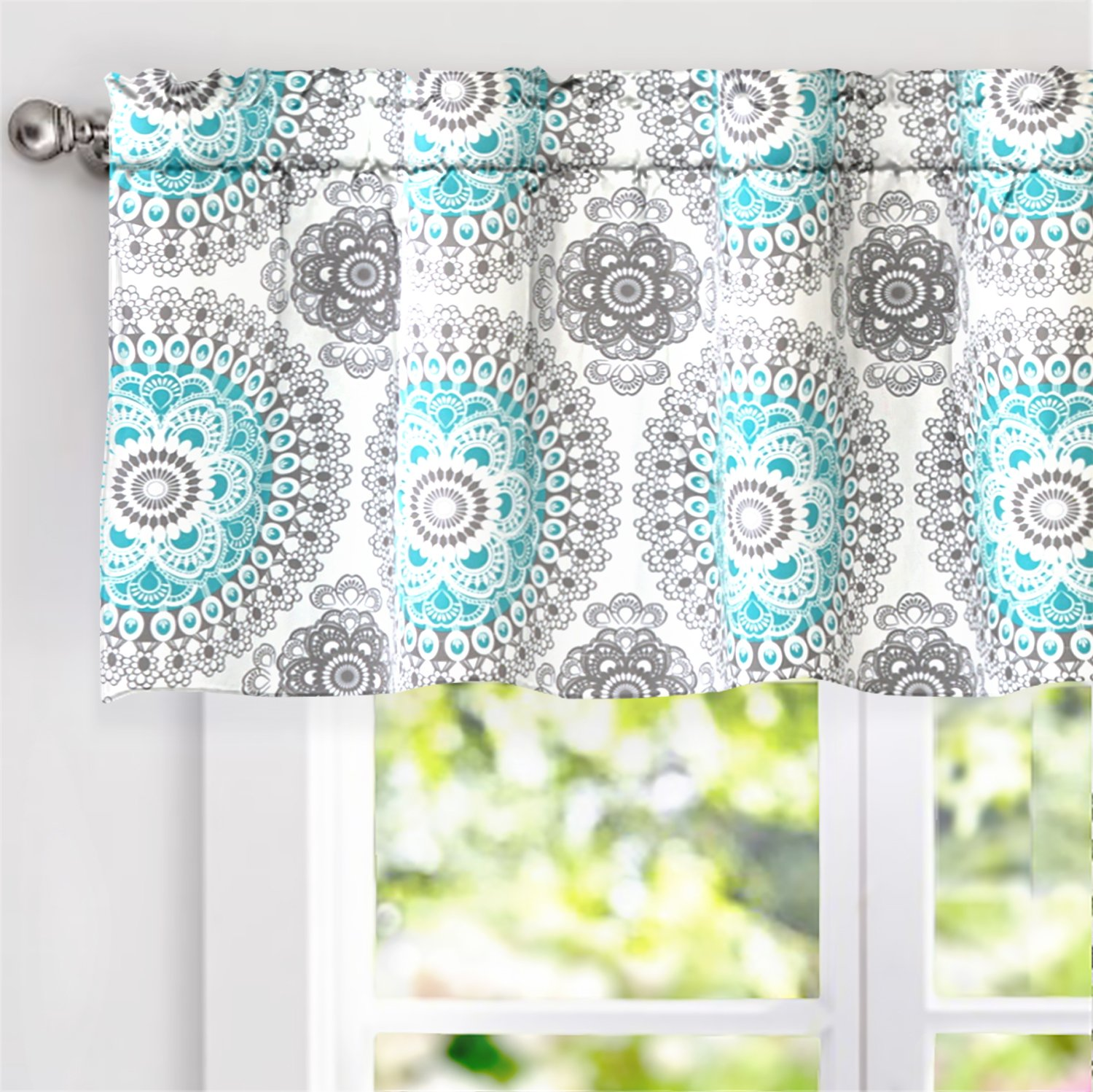 "DriftAway Bella Medallion Pattern Room Darkening Window Curtain Valance, 52""x18"" , Aqua/Gray, Rod Pocket"