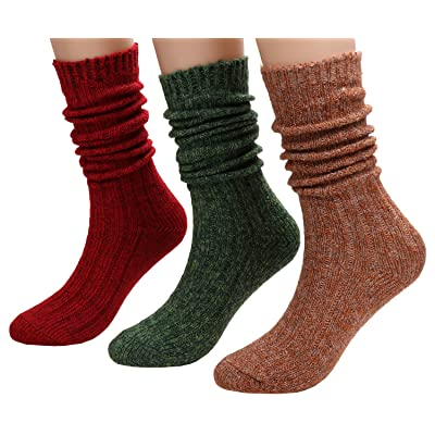3 Pairs Women Knit Crew Knee High Socks Cable Warm Boot Socks, Size 5-11 S25 (mixed1) at Amazon Women's Clothing store
