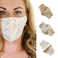3 Pack Lace Face Mask for Bride, Wedding, Off White, Champagne, Beige, Made in USA (Brides Collection)