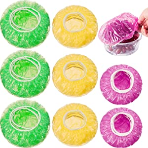240 Pieces Colorful Reusable Food Storage Covers Elastic Bowl Covers Plastic Dish Plate Covers for Family Outdoor Picnic