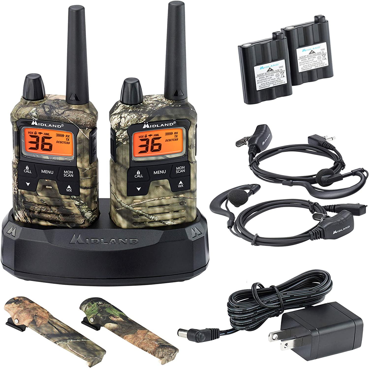 Midland X-TALKER 36 Channel GMRS Two-Way Radio - Extended Range Walkie Talkie, 121 Privacy Codes, NOAA Weather Scan + Alert (Mossy Oak Camo, Pair Pack)