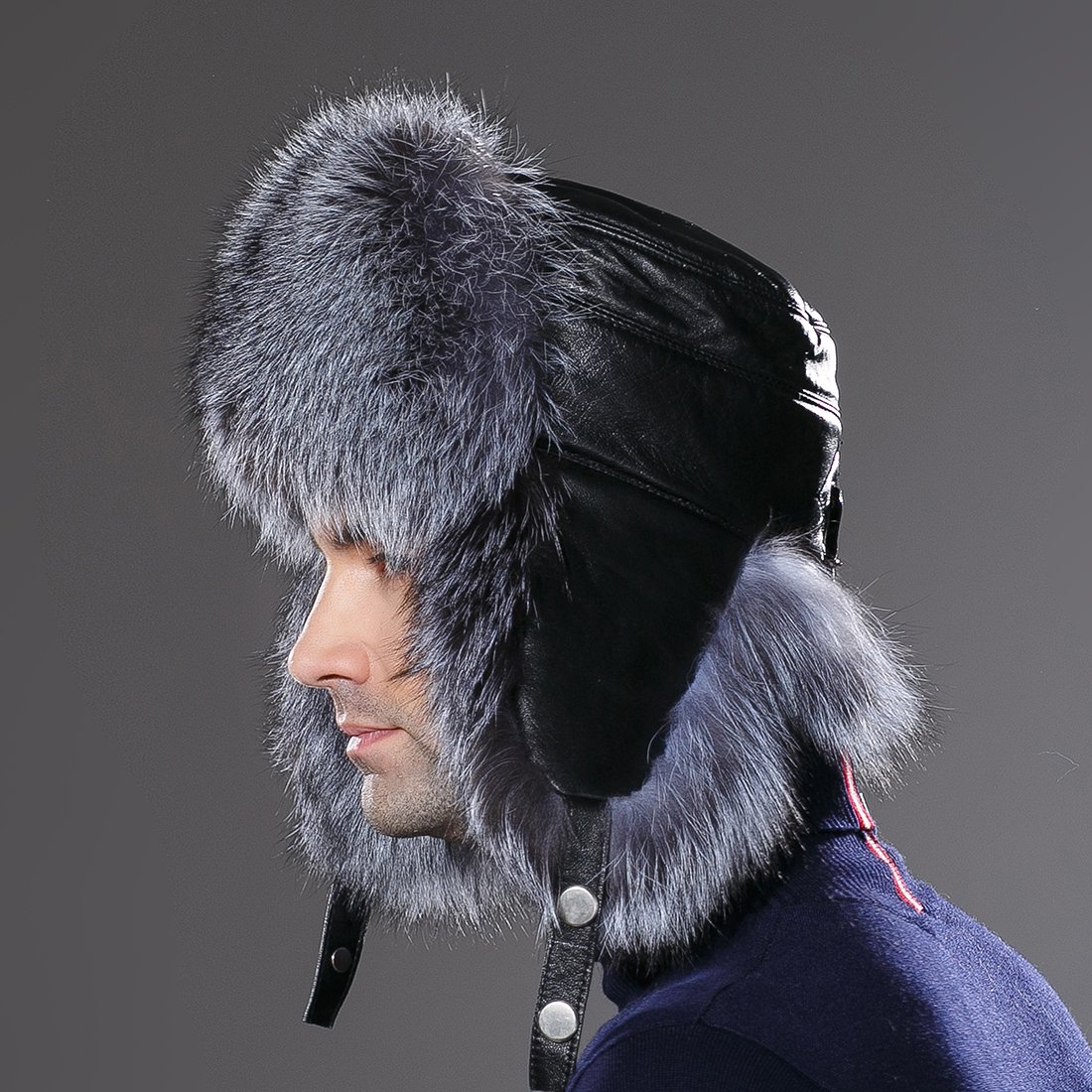 URSFUR Winter Russian Fur Hat Mens Real Silver Fox Fur Ushanka Trapper Cap by URSFUR (Image #9)