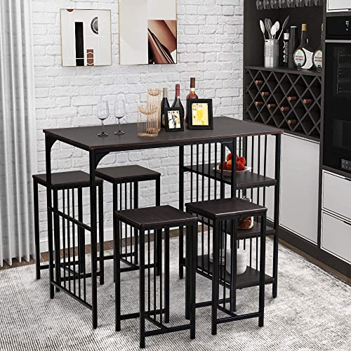 5-Piece Dining Table Set Counter Height Dining Set