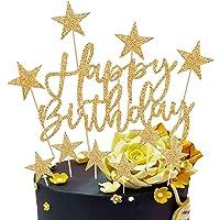 Happy Birthday Cake Topper, 2 Sets Oro Decoración para Tarta para Niñas Niños Mujeres Hombre Decoración de Pastel…