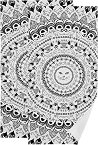 Cat Pattern On Circle Black and White Hand Towel Set Ultra Soft Absorbent Quick-Dry Hand Towels for Bath Fitness, Bathroom, Sports, Yoga, Travel (2-Pack ,28.3x14.4in)
