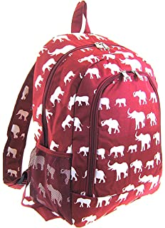 efd1d52faf Elephant Print Full Sized Backpack (Burgundy Red)