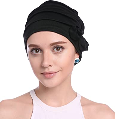 a9ee4f82971 Ababalaya Women Stretch Flower Muslim Headscarf Chemo Cancer Cap in 6  Colors (Black)  Amazon.co.uk  Clothing
