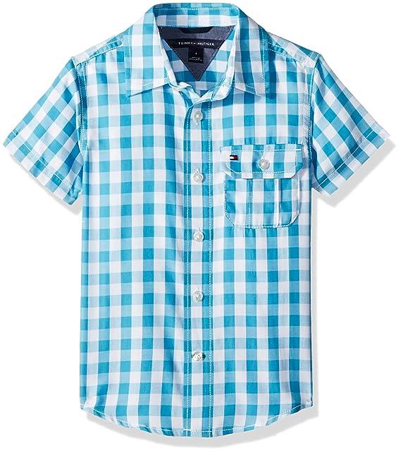 cf49c68a9 Tommy Hilfiger Boys' Short Sleeve Gingham Shirt: Amazon.ca: Clothing ...