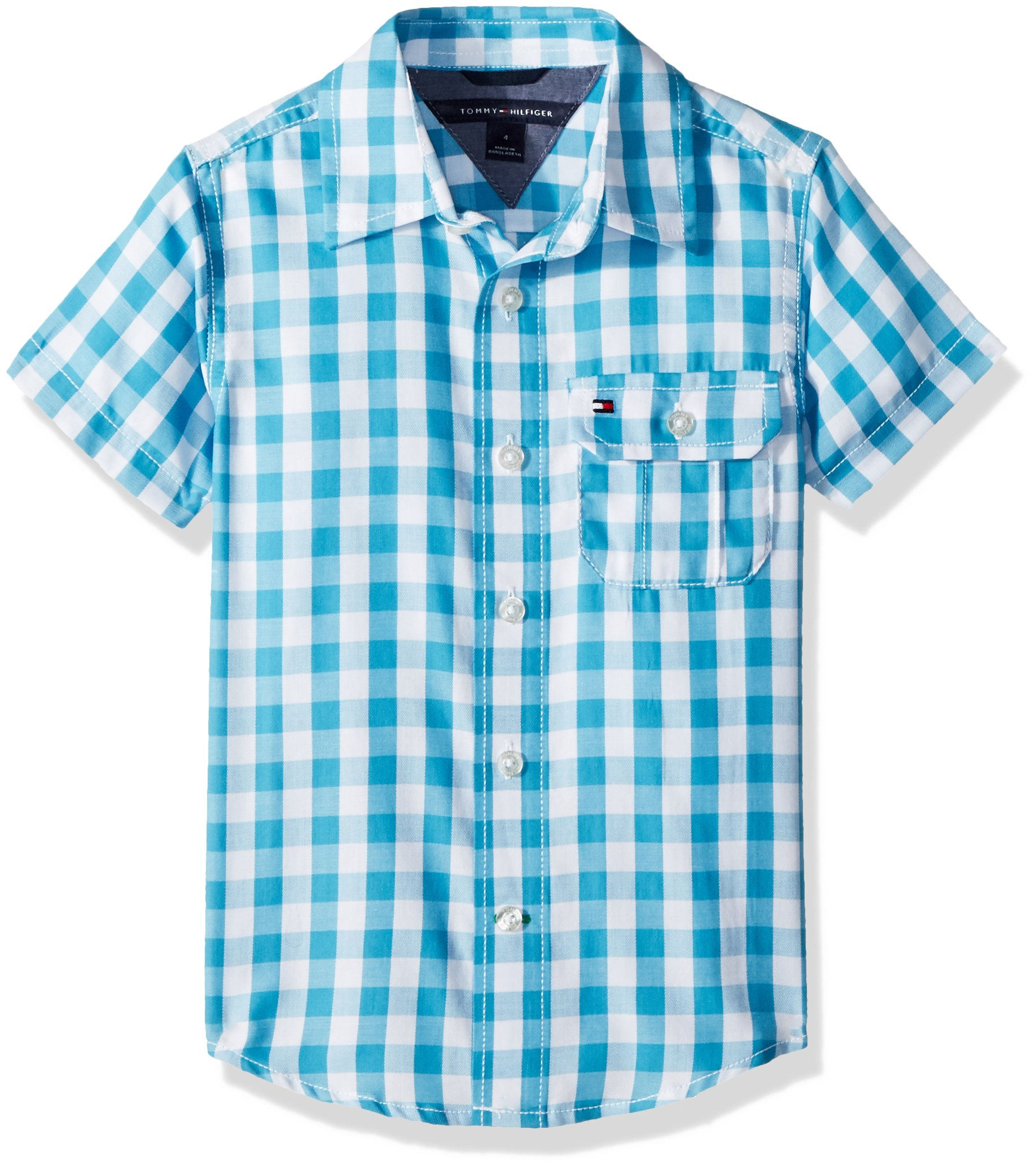 Tommy Hilfiger Boys' Little Short Sleeve Gingham Woven Shirt, Blue Moon, 6