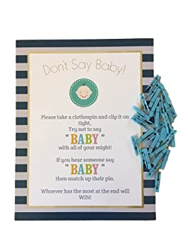 Donu0027t Say Baby!  The Baby Shower Clothespin Game For Guests To Wear