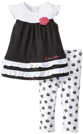 759fcfd037 Amazon.com  Calvin Klein Baby Girls  Bla Tunic with Polka Dots ...