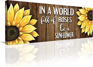 QOQIOSOC Rustic Sunflower Wall Art Inspirational Quotes Wall Decor Be A Sunflower Painting Picture Signs Canvas Print Artwork for Kitchen Living Room Bedroom Bathroom Home Decor 6x17 Inch