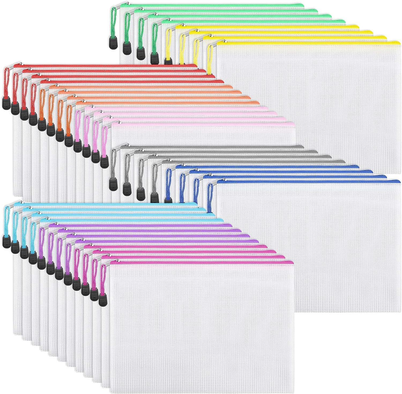 EOOUT 40pcs Mesh Zipper Pouch Document Bag, Plastic Zip File Folders, Letter Size/A4 Size, for Office Supplies, Travel Storage