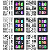 CICI&SISI Nail Art Stamp Set Jumbo 2-Set of 6 JUMBO Nail Art Polish Stamping Manicure Accessories Kit All New Designs w/ FREE Stamper&Scraper Tool Set