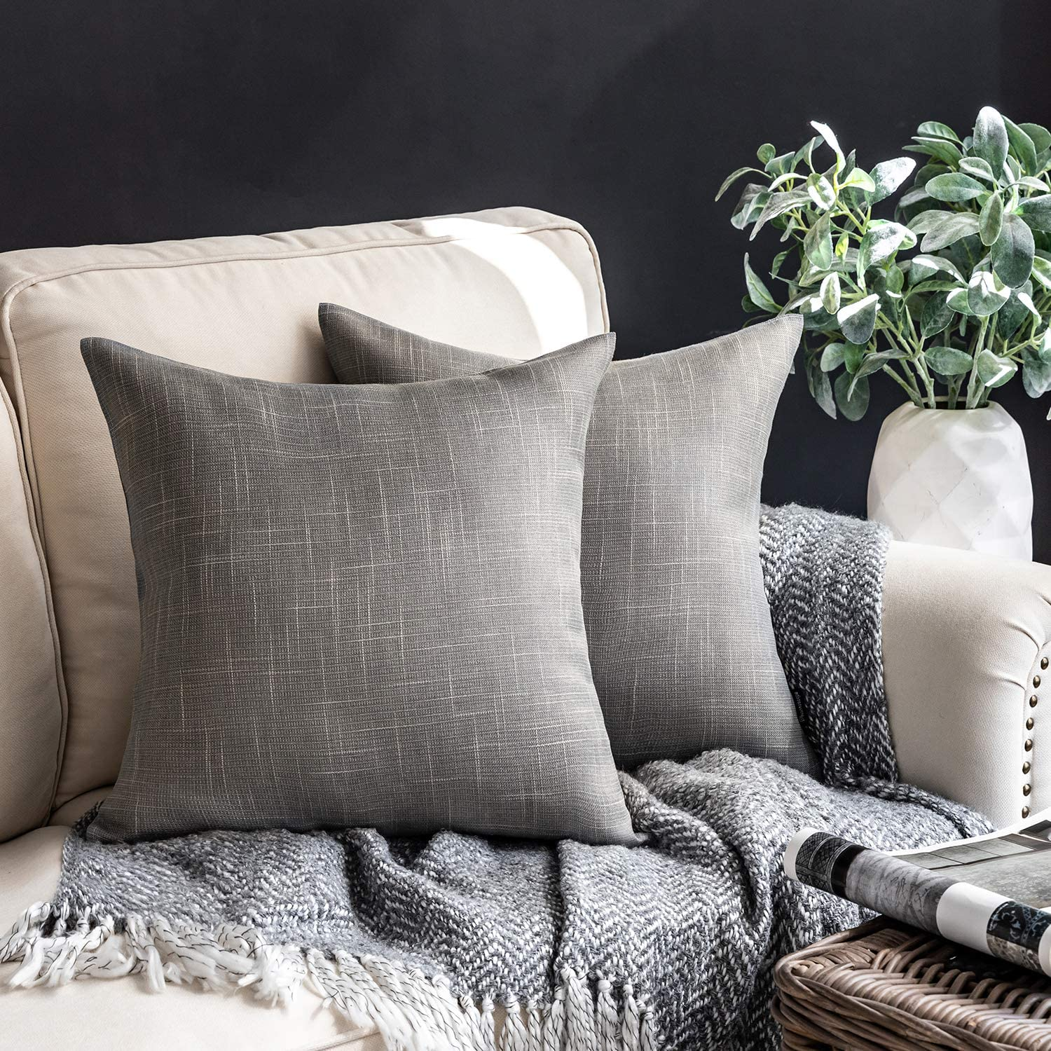 Phantoscope Throw Pillow Cover Soft Textured Lined Burlap Cushion Covers Pillowcase for Home Decor Car Sofa Couch Pack of 2 Dark Grey 22 x 22 inches 55 x 55 cm