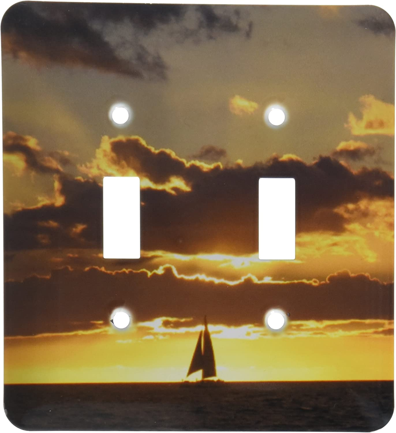 3dRose lsp/_112954/_2 Sailboat at Sunset Boat Ship Sea Ocean Yellow Sailor Sail Nautical Photography Double Toggle Switch Multicolor