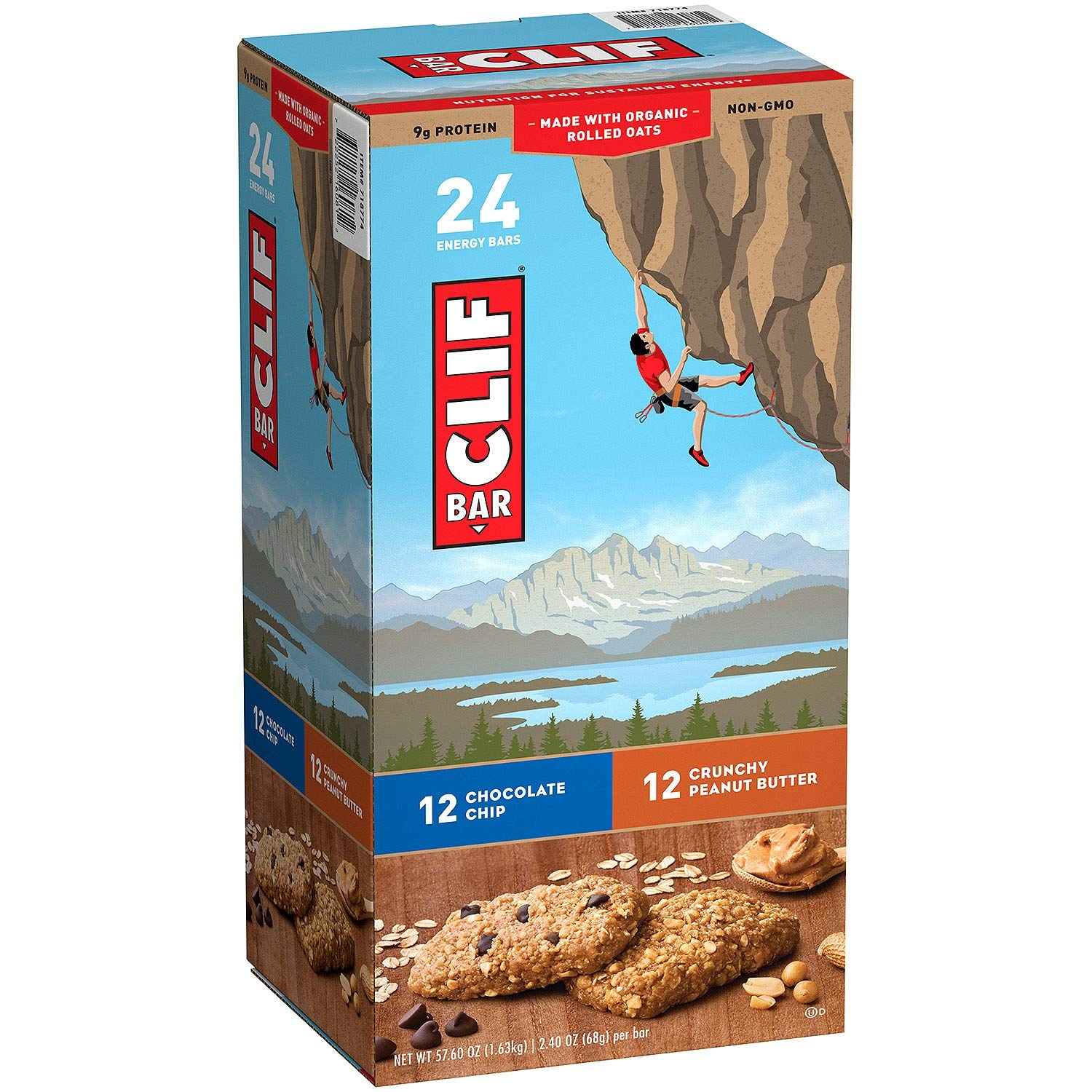 Clif Bar Variety Pack, Chocolate Chip, Crunchy Peanut Butter, 2.4 oz. Nutrition Bars (24 Count)(Pack of 2) by Clif Bar