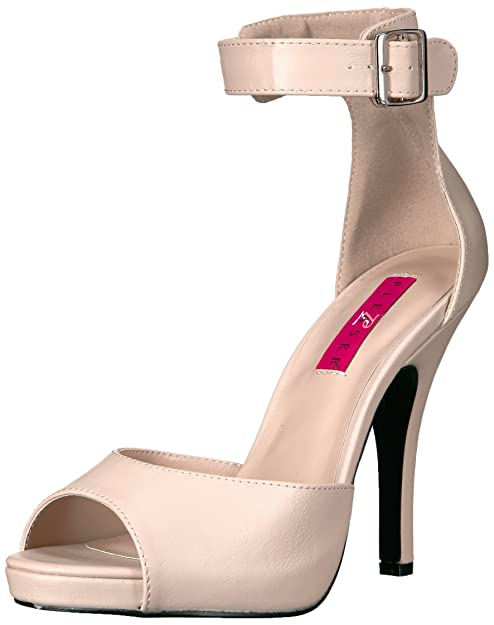 Pleaser Pink Label EVE02B Scarpe con Plateau Donna Beige Cream Faux 40
