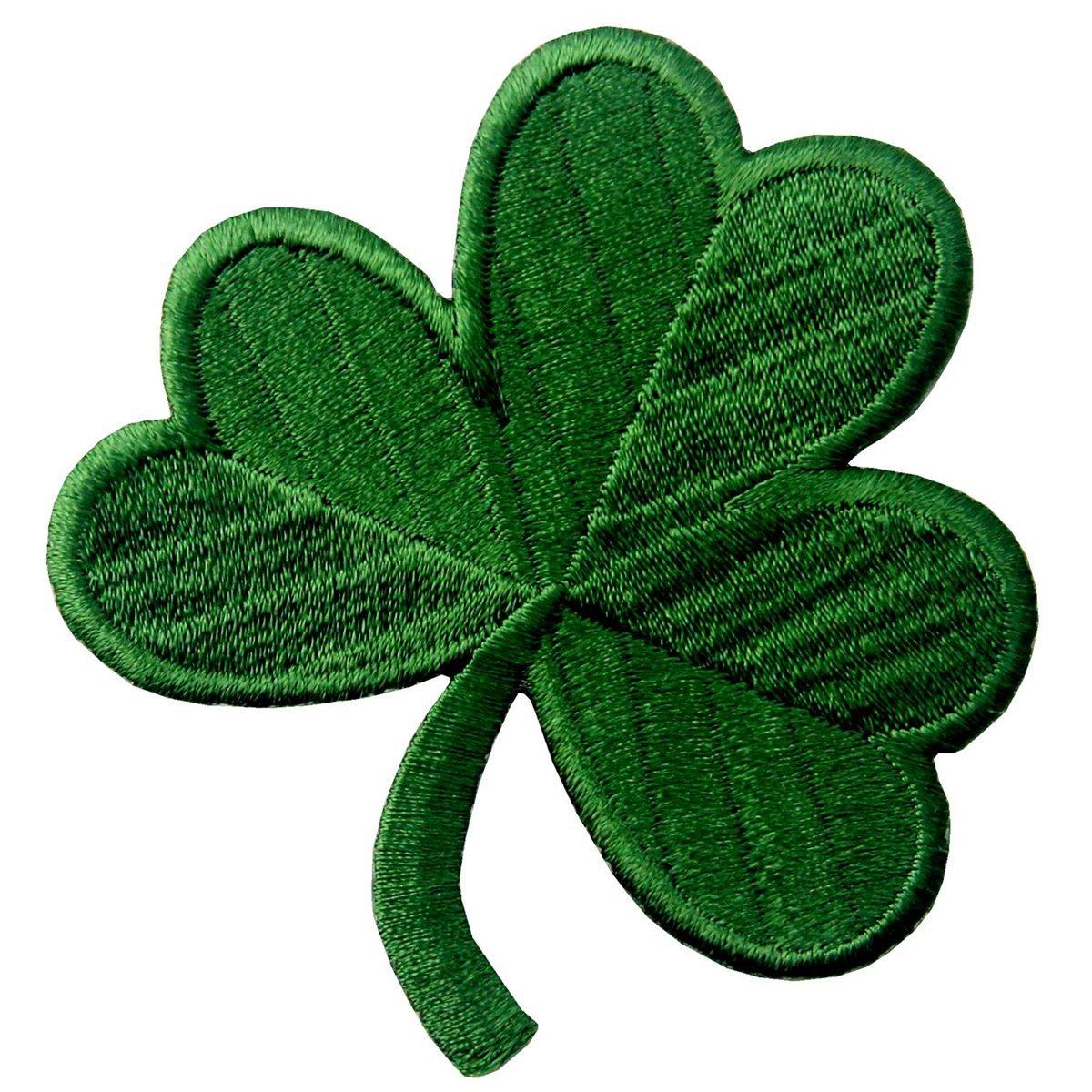 Clover irlandese Verde scuro Lucky Shamrock Emblema Nazionale Termoadesiva Cucibile Ricamata Toppa EmbTao