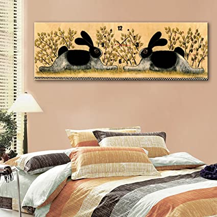 Amazon.com: Two rabbit decorative bell painting frameless painting ...