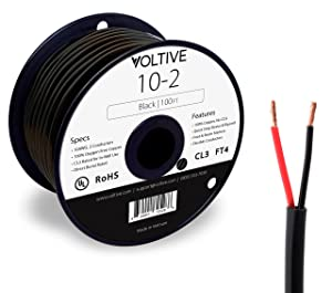 Voltive 10/2 Speaker Wire - 10 AWG/Gauge 2 Conductor - UL Listed in Wall (CL2/CL3) and Outdoor/In Ground (Direct Burial) Rated - Oxygen-Free Copper (OFC) - 100 Foot Spool - Black