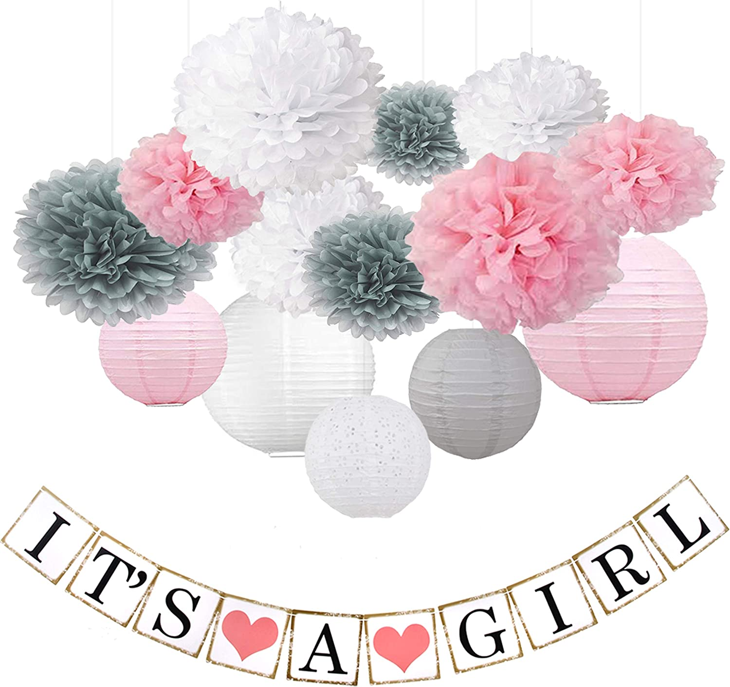 Beau & Miel Baby Shower Decorations for Girl, decoracion para Baby Shower niña, babyshower Package, Decoration Party kit with Banner Decor, Pink White Gray Packages Paper pom poms for Babies