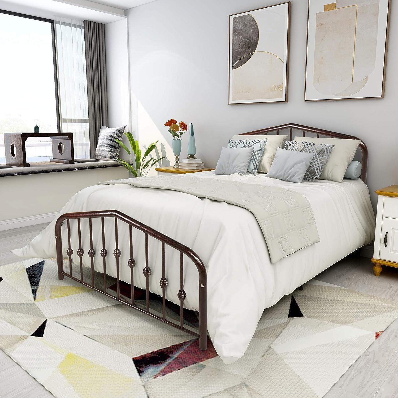 Metal Bed Full Size Platform Bed Frame Morden Design Heavy Duty Steel Slat and 9-Leg Support, Brown