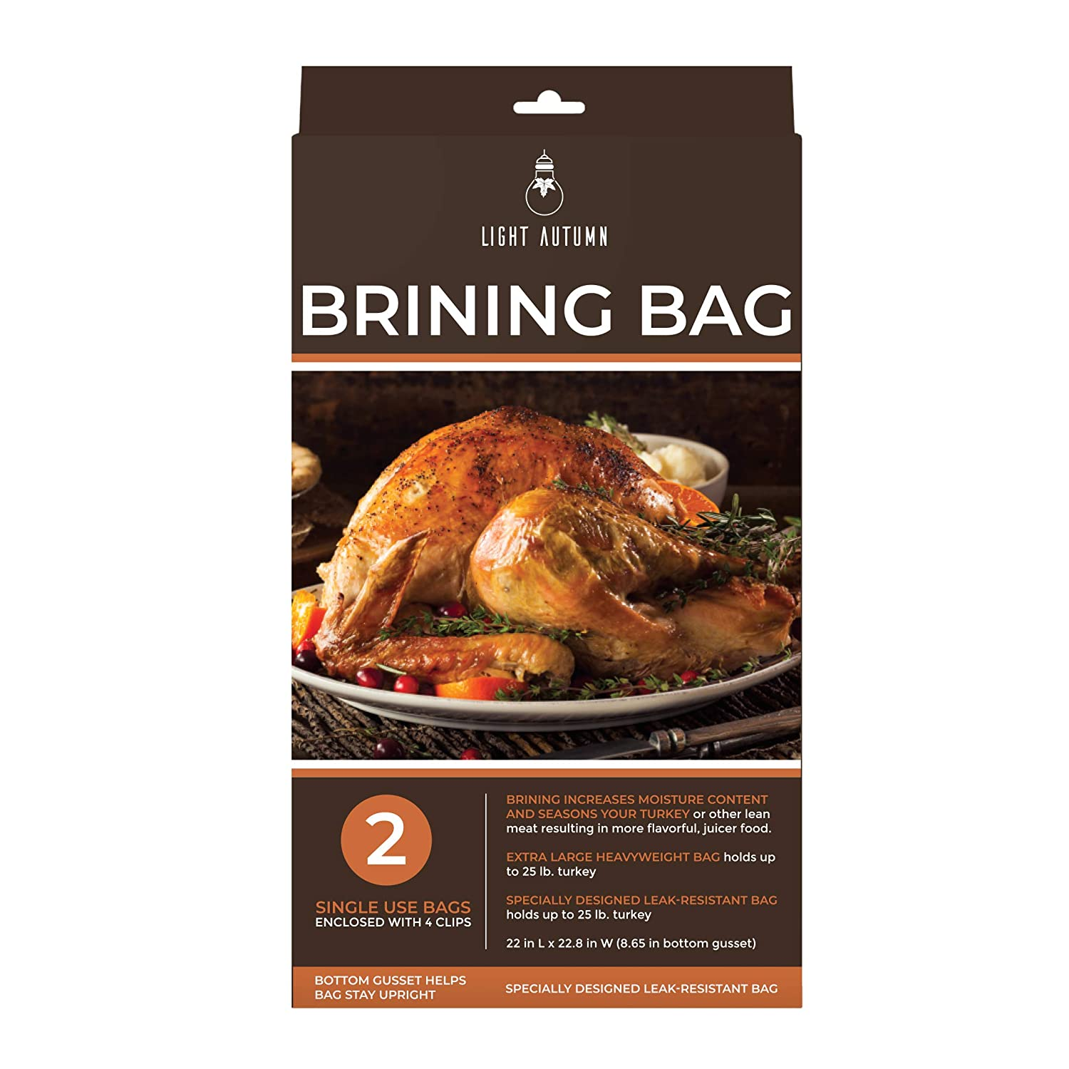Brining Bags for Turkey - 2 Pack Heavy Duty XL Double Zipper Thanksgiving Turkey Brining Bags with Clips