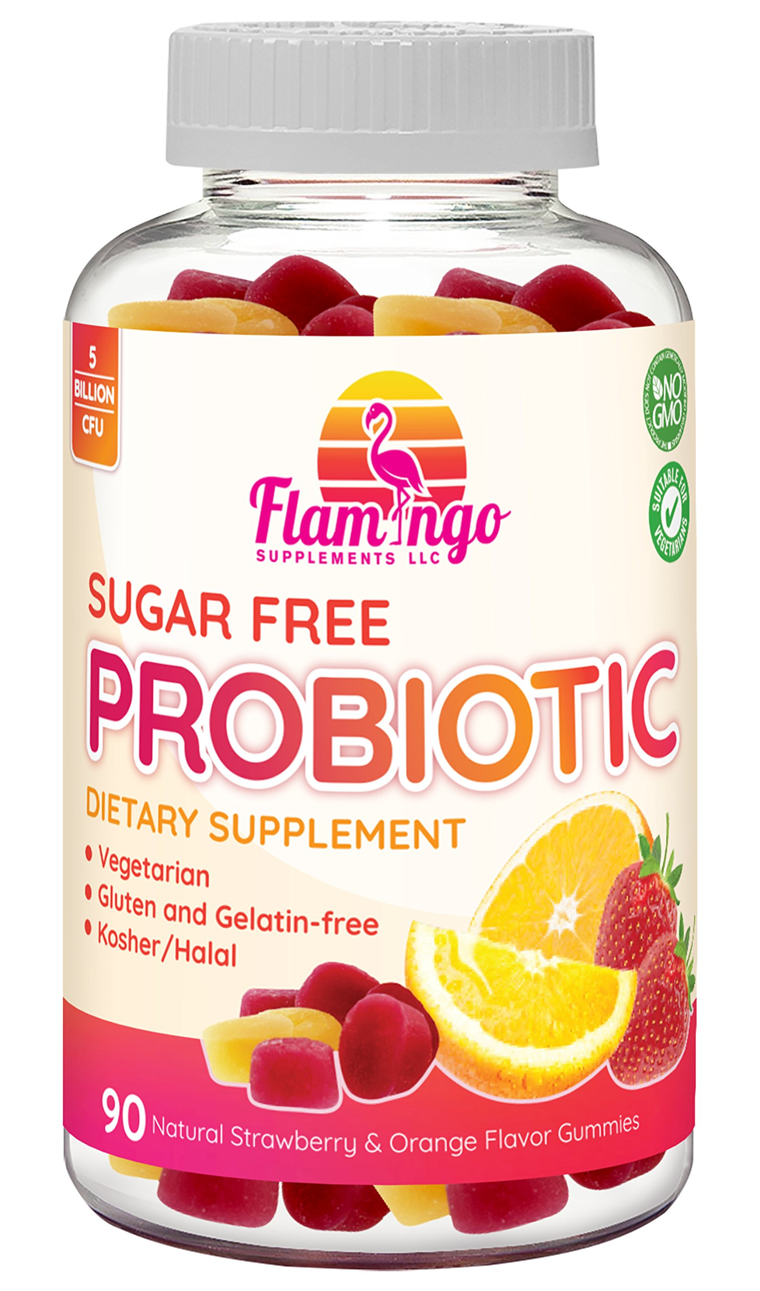 Flamingo Supplements - Sugar Free Probiotic Gummies - 5 Billion CFU, Non GMO, Vegetarian (NO Gelatin or Gluten) and Kosher. For Women Men & Kids Digestive and Immune Health | 90 Count
