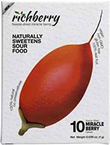 Miracle Berry by richberry, 10-halves, Freeze Dried Premium Fruits, No Preservatives, 100% Real Fruit, Naturally Sweetens Sour Food, Great for Snacks and Taste Tripping, Low Sugar Diet, Vegan
