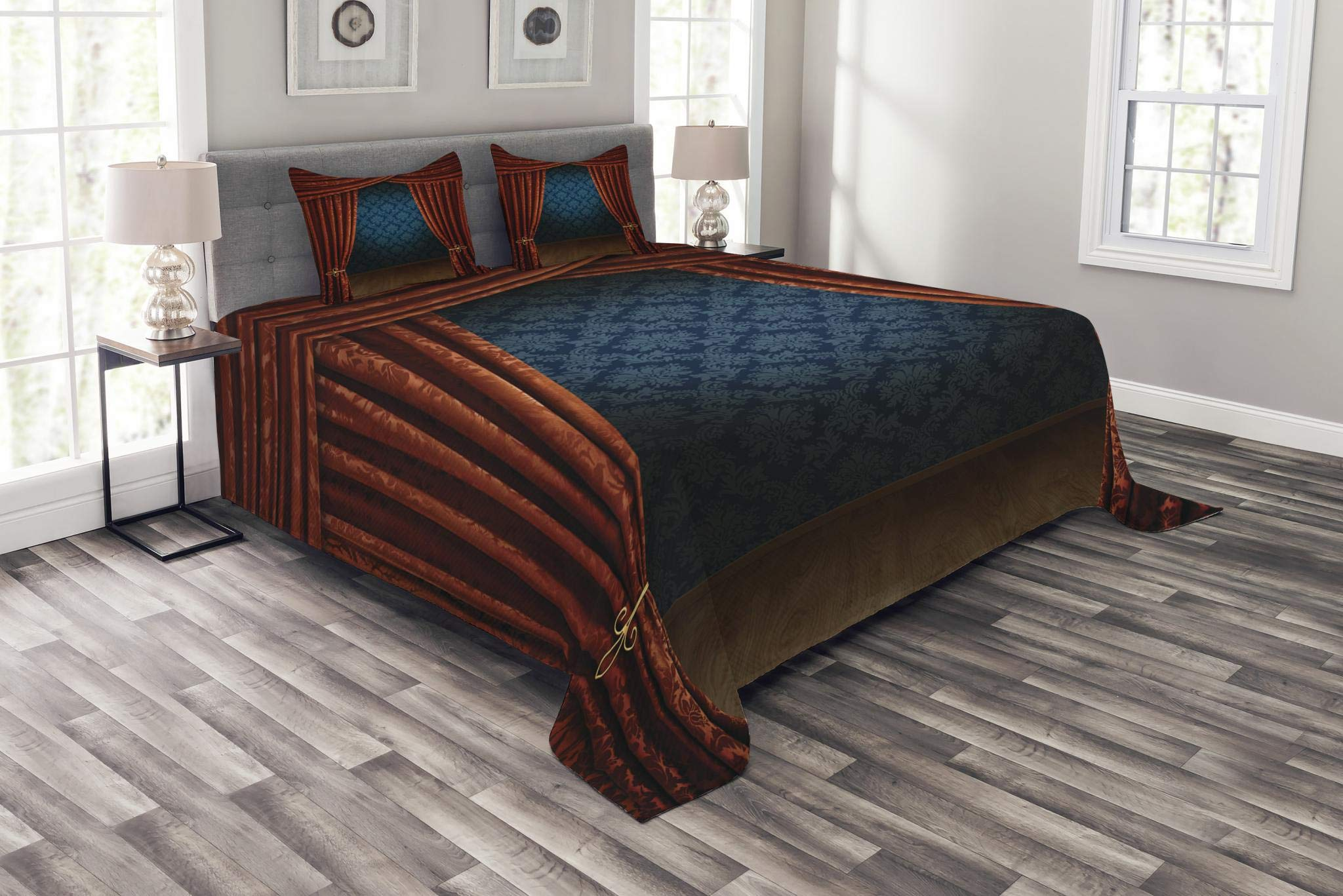 Ambesonne Victorian Bedspread Set King Size, Grand Opening Showroom with Retro Pattern Wall Classic Stage Theatrical, Decorative Quilted 3 Piece Coverlet Set with 2 Pillow Shams, Burgundy Multicolor