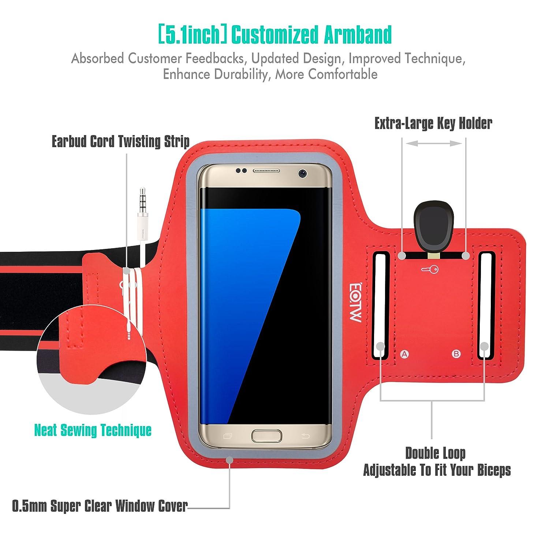 EOTW Brazalete deportivo Samsung Galaxy s6/7 de Neopreno Antideslizante con un bolsillo para tarjetas, llaves, dinero y auriculares, Brazalete movil ...
