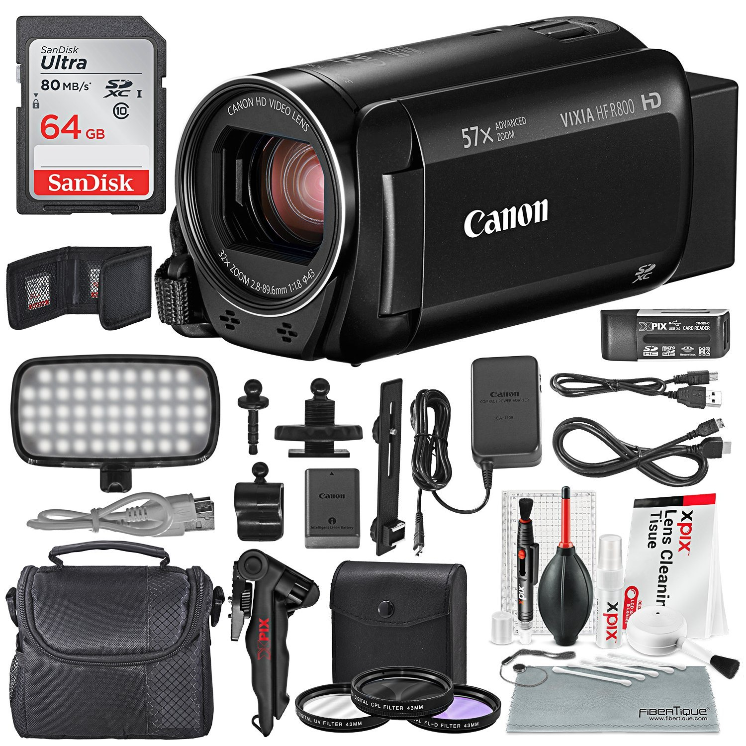 Canon Vixia HF R800 HD Camcorder (Black) Deluxe Bundle W/ Camcorder Case, 64 GB SD Card, 3 Pc. Filter Kit, LED Light Kit, and Xpix Cleaning Accessories by Photo Savings