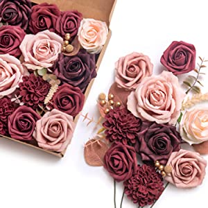 Ling's moment Luxury Burgundy Artificial Flowers Box Set for DIY Wedding Bouquets Centerpieces Arrangements Party Baby Shower Home Decorations