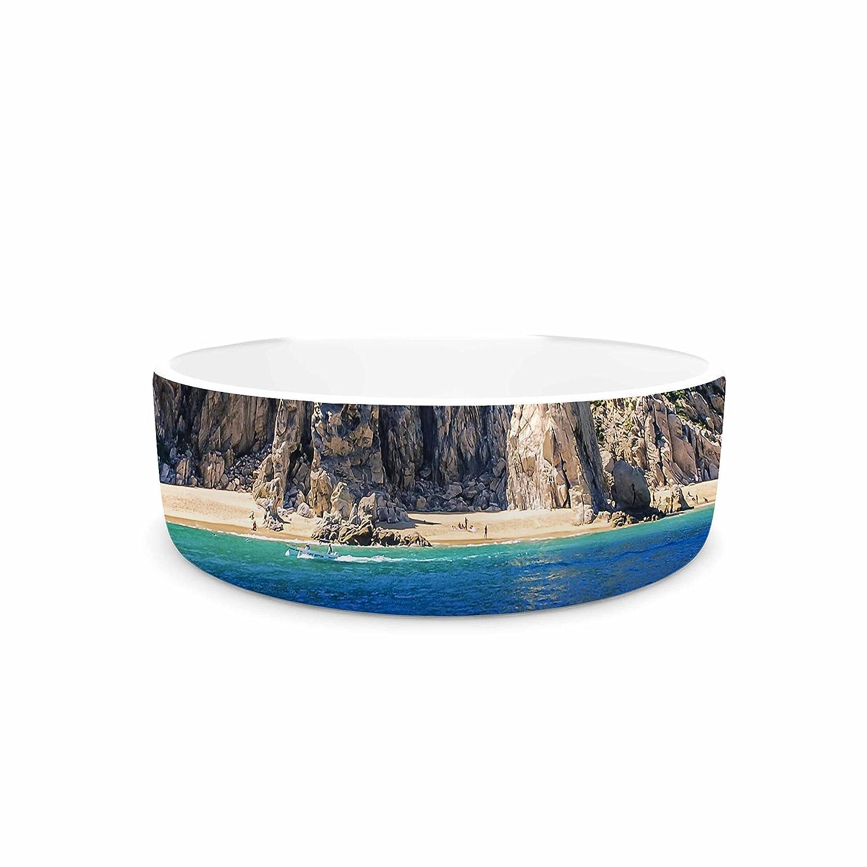 KESS InHouse Nick Nareshni Stone Hills Coastline Green bluee Photography Pet Bowl, 7  Diameter