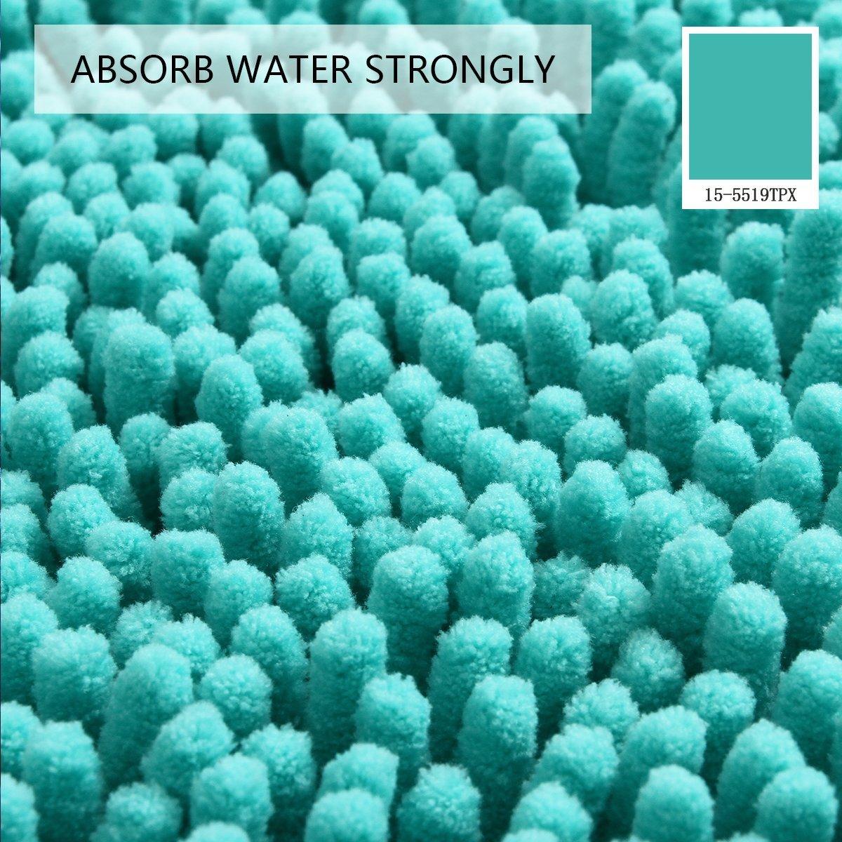 Mayshine Bath mats for Bathroom Rugs Non Slip Machine Washable Soft Microfiber 2 Pack (20×32 inches, Turquoise) by MAYSHINE (Image #1)