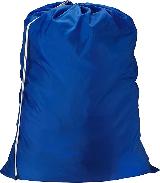Nylon Laundry Bag - Locking Drawstring Closure and Machine Washable. These Large Bags Will Fit a Laundry Basket or Hamper and Strong Enough to Carry up to Three Loads of Clothes. (Royal Blue)