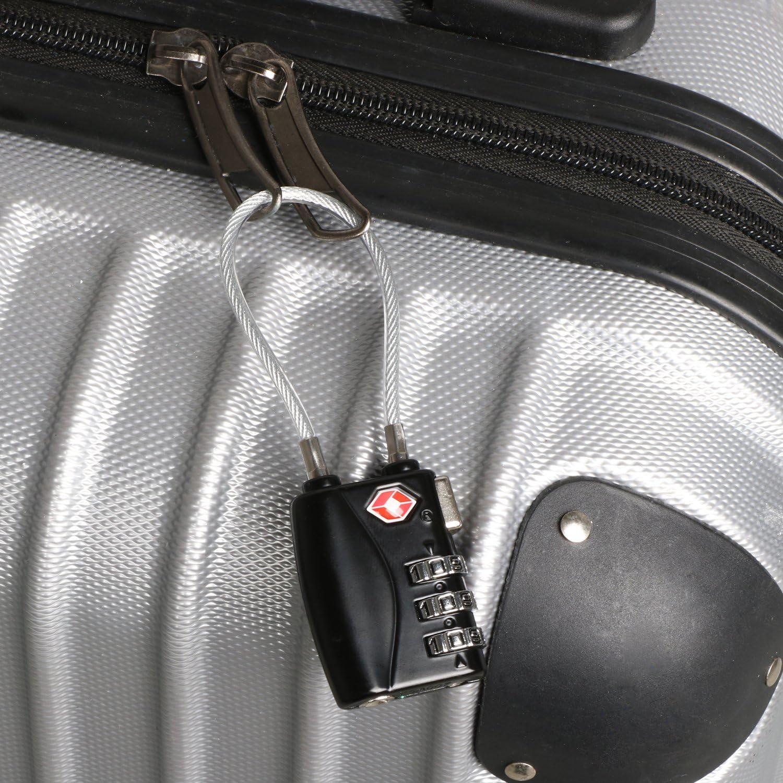 TRIXES Serrure Noire /à Combinaison TSA 3 Chiffres Voyage Bagages /à Main avec C/âble