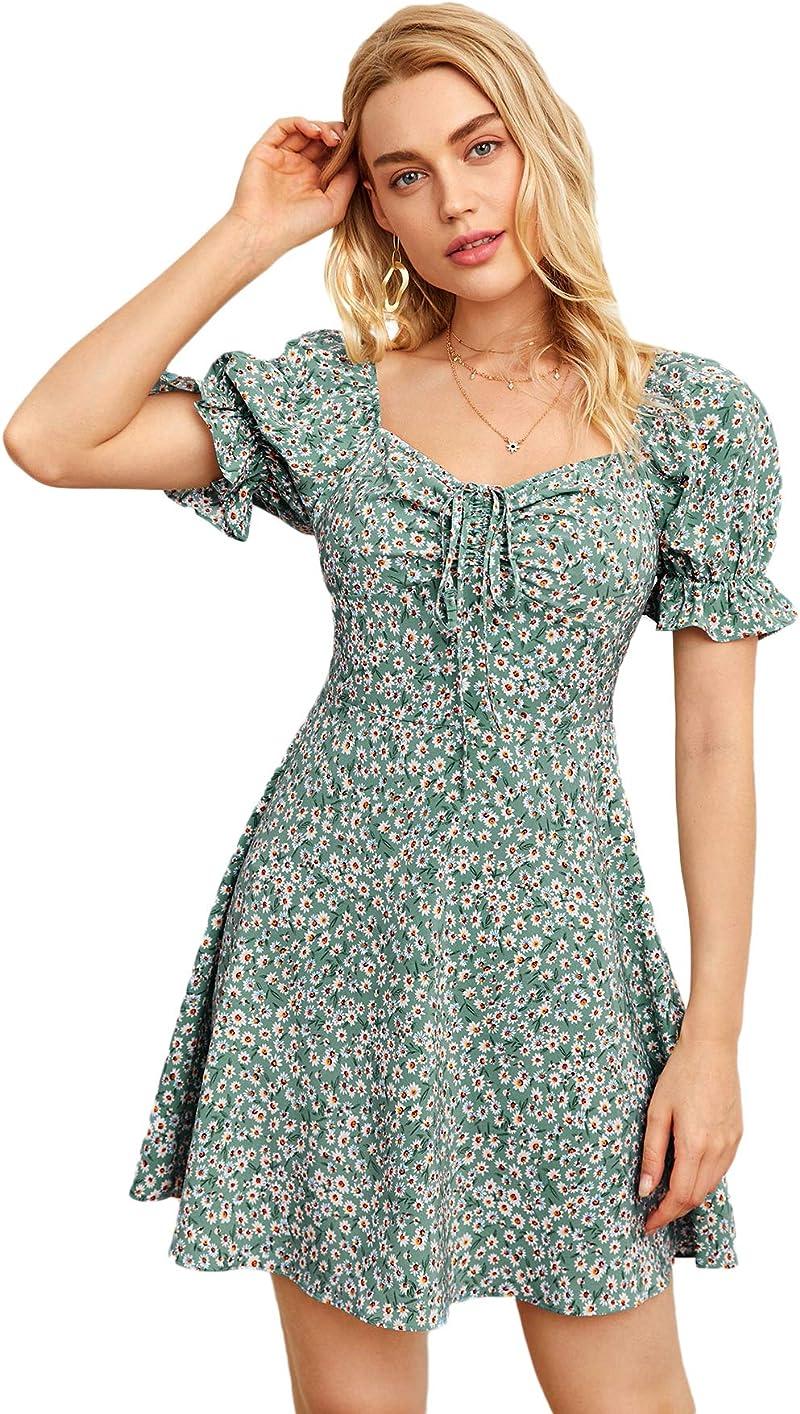 SheIn Women's Puff Short Sleeve Drawstring Floral Ruffle A Line Short Dress