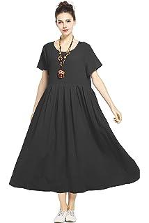 1a89988225 Anysize Soft Linen Cotton Loose Spring Summer Dress Plus Size Dress F122A