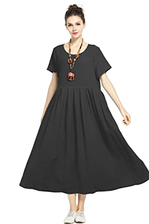 Anysize Soft Linen Cotton Loose Spring Summer Dress Plus Size Dress F122A