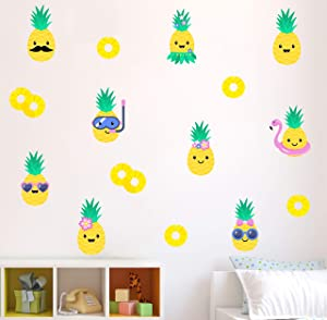 Pineapple Wall Décor – Cute Colorful Decals for Kids, Removable Stickers for Bedroom Kitchen Bathroom Playroom Nursery Kawaii Party, Set of 18