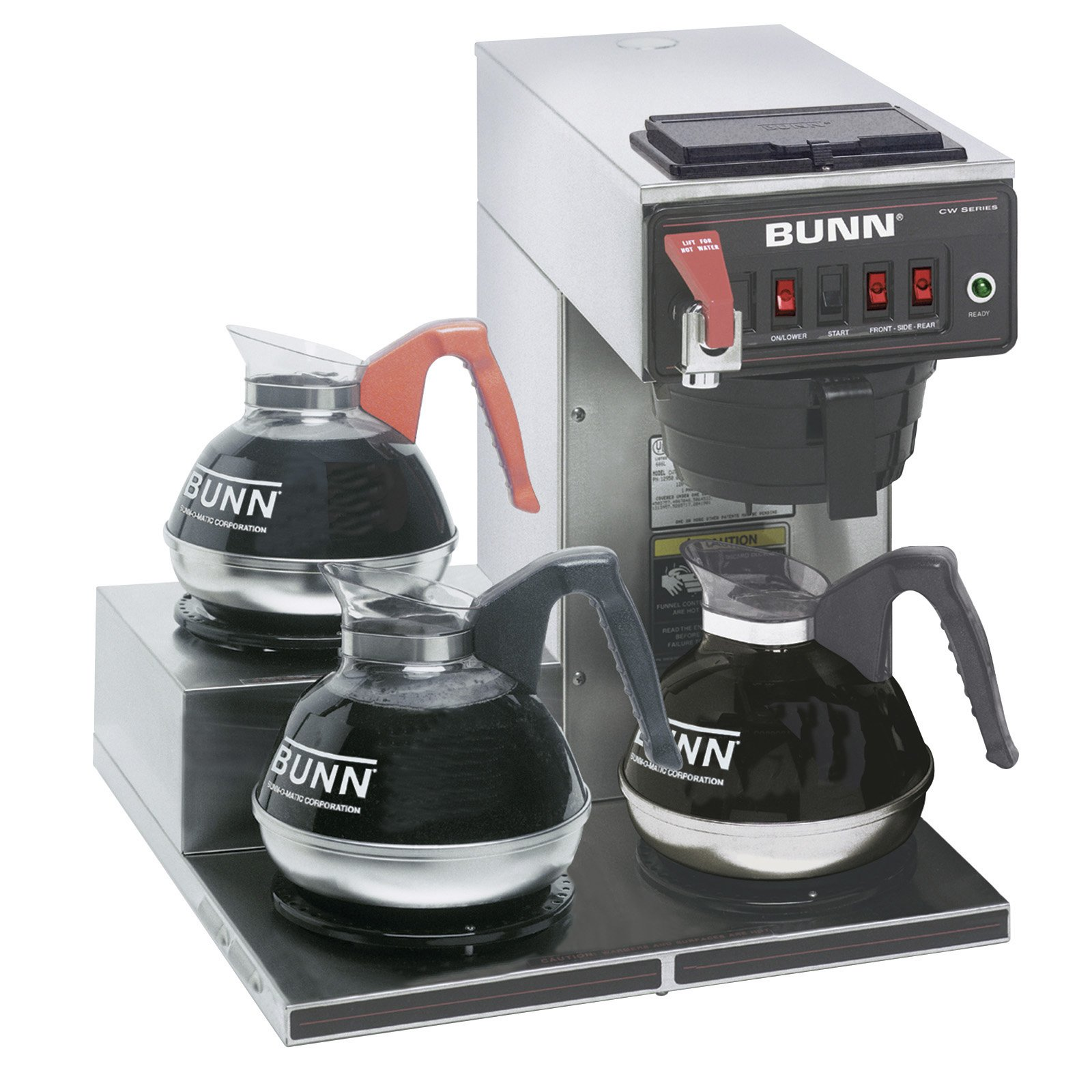 BUNN 12950.0298 CWTF15-3 3L Left Stainless 12-Cup Automatic Commercial Coffee Brewer with 3 Warmers, Black (120V)