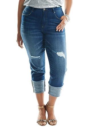 68d0bc98cf Roamans Women s Plus Size Cuffed Boyfriend Jeans at Amazon Women s Clothing  store