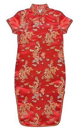 Vestido chino para niña, Qipao tradicionale motivo dragones o ...