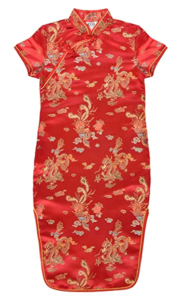 Vestido chino para niña, Qipao tradicionale rojo motivo dragones 4 años
