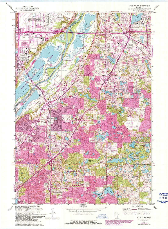 Amazon.com : YellowMaps St Paul SW MN topo map, 1:24000 ... on new hampshire united states map, minneapolis map, nevada united states map, wage statistics united states map,