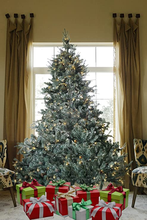 Where Did Christmas Trees Originate.8 Ft Prelit Premium Spruce Hinged Artificial Christmas Tree 1600 Realistic Branch Tips Pines With 600 Led Lights And Stand